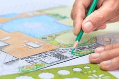 Binnenplaatstuin en het plan van het poolontwerp royalty-vrije stock foto's