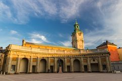 Binnenplaatsvierkant van Zweeds Royal Palace, Stockholm, Zweden royalty-vrije stock foto's
