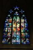 Binnenvensterkathedraal Praag Royalty-vrije Stock Foto's