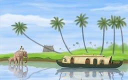 Binnenwater van Kerala royalty-vrije illustratie