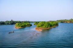 Binnenwaterlandschap van Kerala Royalty-vrije Stock Afbeelding