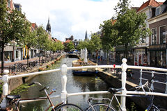 Binnenwatersloot in historical town Delft, Holland Stock Photography