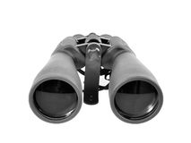 Binoclars. Powerful astronomical binoculars with tripod clamp attached Stock Photo