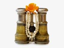 Binocolo antico con le perle ed il percorso di residuo della potatura meccanica Fotografie Stock Libere da Diritti