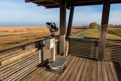 binocolo del metallo nell'allerta di legno Fotografia Stock