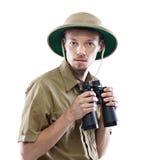 Binocolo della tenuta dell'esploratore Fotografia Stock Libera da Diritti