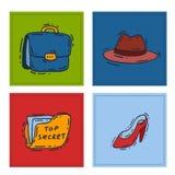 Binocolo o cannocchiale stabilito dell'agente della mafia dell'agente investigativo del fumetto di vettore delle icone della spia royalty illustrazione gratis
