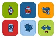 Binocolo o cannocchiale stabilito dell'agente della mafia dell'agente investigativo del fumetto di vettore delle icone della spia illustrazione di stock
