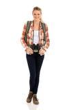 Binocolo turistico femminile Fotografia Stock Libera da Diritti