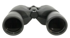 Binocular. Modern black binocular isolated on white stock image