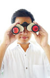 Binocular. High key picture of man holding a binocular royalty free stock image