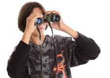 Binocular. Boy with binocular in studio Royalty Free Stock Photos