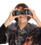 Binocular. Boy with binocular Stock Photos