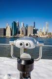 A binocular in Brooklyn Bridge Park Stock Photo