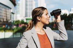 Binocular Business Marketing Finding Success Concept. ใ Stock Photography