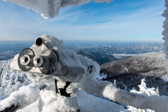 Binocular Covered By Snow In Winter Royalty Free Stock Photography