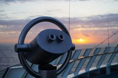 Binocular of a cruise ship. In front the Binocular of a cruise ship in the back  the caribbean sea Stock Photo