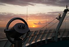 Binocular of a cruise ship. In front the Binocular of a cruise ship in the back  the caribbean sea Royalty Free Stock Images