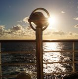 Binocular of a cruise ship. In front the Binocular of a cruise ship in the back  the caribbean sea Stock Images