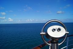 Binocular of a cruise ship. In front the Binocular of a cruise ship in the back  the caribbean sea Royalty Free Stock Photography