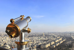 Telescope on Eiffel Tower Royalty Free Stock Photo