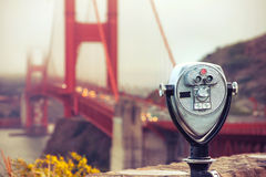 Binocular - golden gate. Cross processing Royalty Free Stock Image