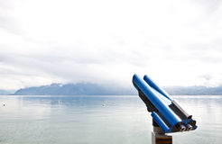 Binocular at lake Geneva Royalty Free Stock Photos