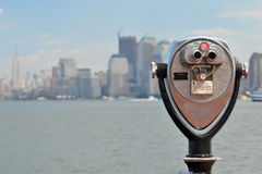 Binocular on Liberty Island, new york Royalty Free Stock Photos
