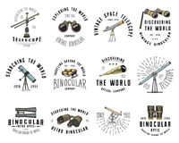 Binocular logo emblem or label astronomical instruments, telescopes oculars and binoculars, quadrant, sextant engraved. In vintage hand drawn or wood cut style Royalty Free Stock Photo