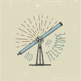 Binocular logo emblem or label astronomical instruments, telescopes oculars and binoculars, quadrant, sextant engraved. In vintage hand drawn or wood cut style Royalty Free Stock Images