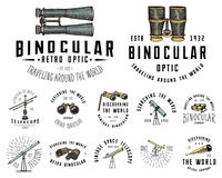 Binocular logo emblem or label astronomical instruments, telescopes oculars and binoculars, quadrant, sextant engraved. In vintage hand drawn or wood cut style Stock Photography