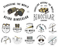 Binocular logo emblem or label astronomical instruments, telescopes oculars and binoculars, quadrant, sextant engraved. In vintage hand drawn or wood cut style Stock Image