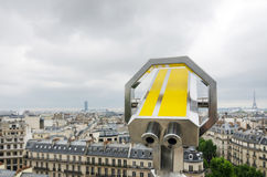 Binocular looking out to paris skyline Stock Photos