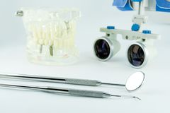 Binocular loupes dentistry. Application of optics in the treatment of dental diseases. The concept of new technologies in medicine royalty free stock image