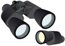 Binocular and monocular. Monocular and binocular optical instruments on a white background vector illustration