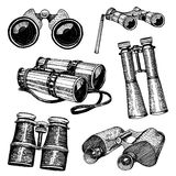 Binocular monocular vintage, engraved hand drawn in sketch or wood cut style, old looking retro instrument Stock Image
