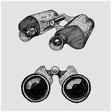 Binocular monocular vintage, engraved hand drawn in sketch or wood cut style, old looking retro scinetific instrument Royalty Free Stock Photo