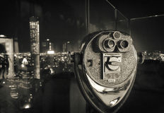 Binocular in New York City, image in grunge and retro style. Royalty Free Stock Image