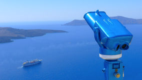Binocular for observing caldera of Santorini Stock Image