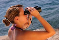 Binocular at the sea Royalty Free Stock Images