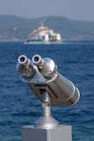 Binocular for sea seeing. Working with coins Stock Photo
