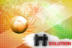 Binocular with Solution text illustration Royalty Free Stock Photography