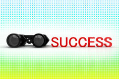 Binocular And Success Text In Halftone Stock Photo