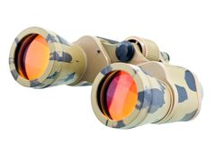 Binocular telescope. Close up on white Stock Photo