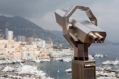 Binocular telescope in Monaco. BModern binocular telescope for tourists in Monaco Stock Image