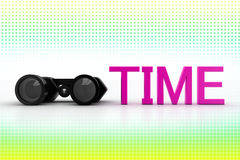 Binocular And Time In Halftone Background Royalty Free Stock Photography