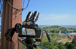 Binocular at the top of the tower Stock Image