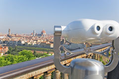 Binocular for tourists pointing Florence, Italy Royalty Free Stock Image