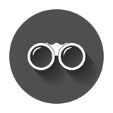 Binocular vector icon. Binoculars explore flat illustration. With long shadow Royalty Free Stock Photography