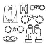 Binocular vector set. Zoom tool equipment military illustration. Stock Images